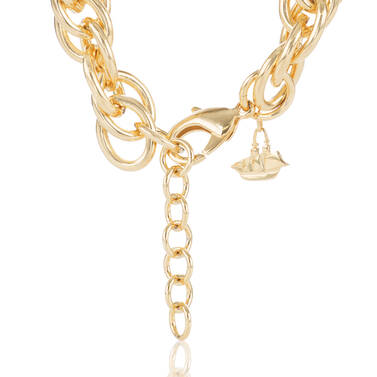 Double Round Chain Necklace Light Gold Providence Side