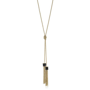 Fairhaven Duo Tassel Necklace Black Jewelry Front