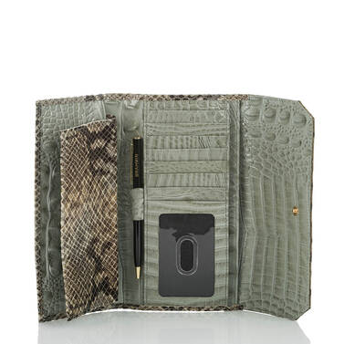 Soft Checkbook Wallet Silver Sage Kansai Interior