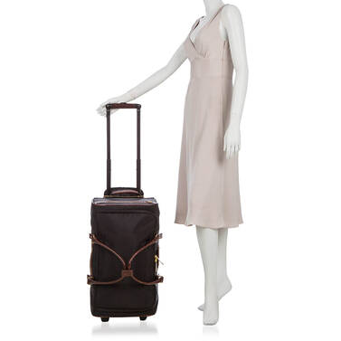 CarryOn Wheeled Duffle Black Travel on figure for scale