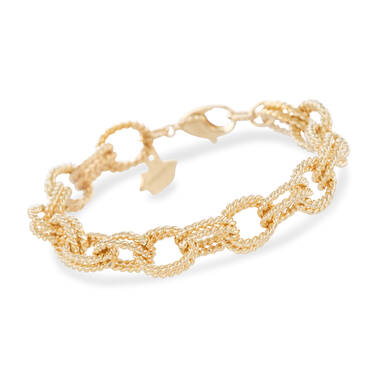 Double Bead Chain Bracelet Light Gold Providence Front