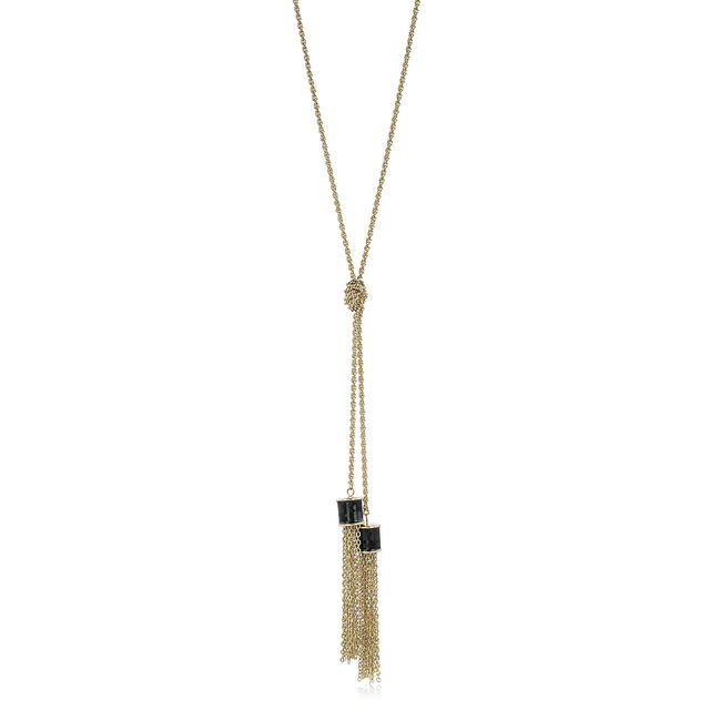 Fairhaven Duo Tassel Necklace Black Jewelry, Black, hi-res