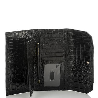 Soft Checkbook Wallet Black Crane Interior