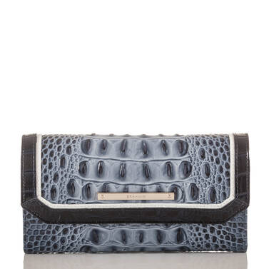 Soft Checkbook Wallet Denim Tri-Texture Front