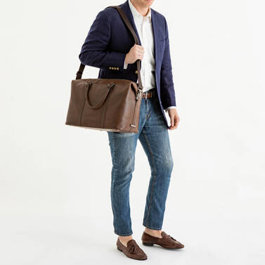 Duxbury Duffle Cocoa Brown Manchester On Mannequin