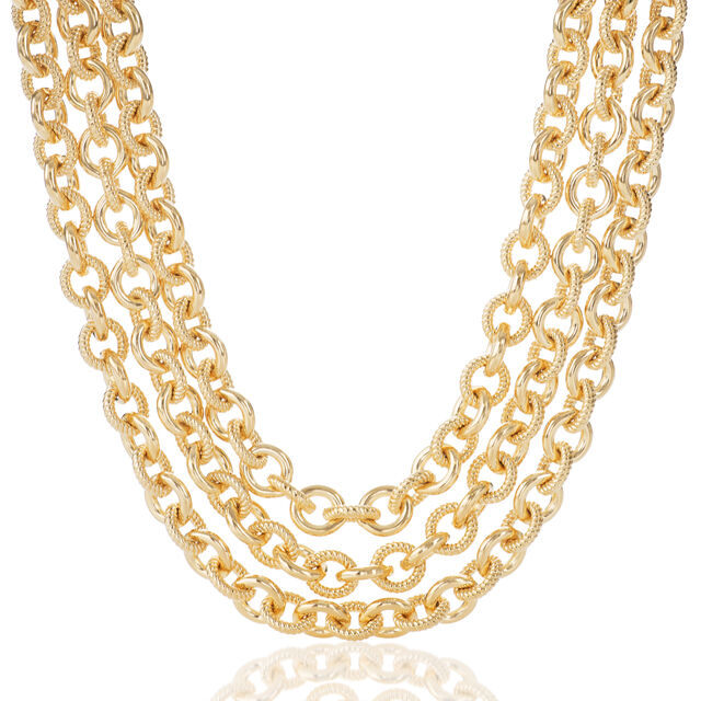 Smooth Twisted Layered Chain Necklace Light Gold Providence, Light Gold, hi-res