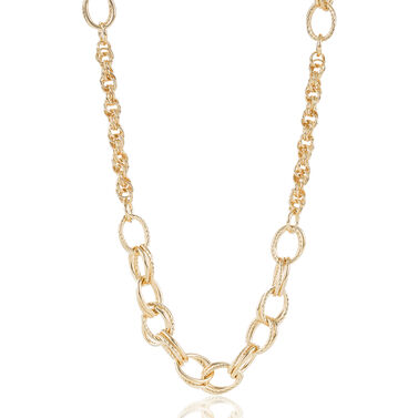 Textured/Smooth Station Necklace Light Gold Providence Front