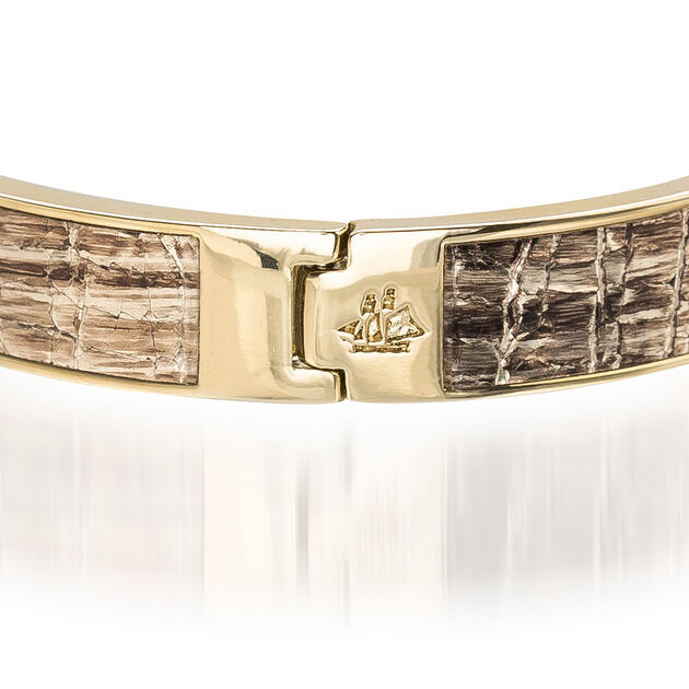 Heritage Leather Bangle Gold Fairhaven