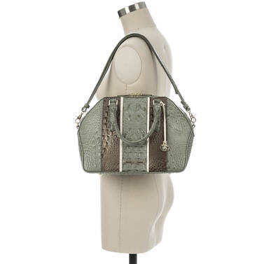 Hudson Satchel Silver Sage Tarama on figure for scale