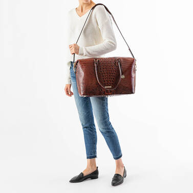 Duxbury Carryall Pecan Melbourne on figure for scale