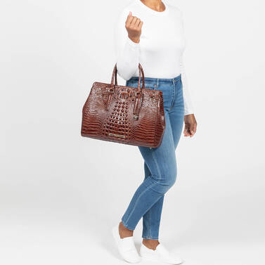 Finley Carryall Mocha Ombre Melbourne on figure for scale