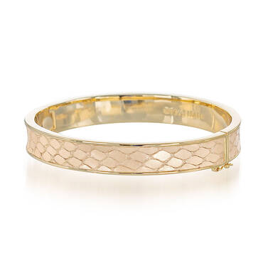 Heritage Leather Bangle Gold Fairhaven Front