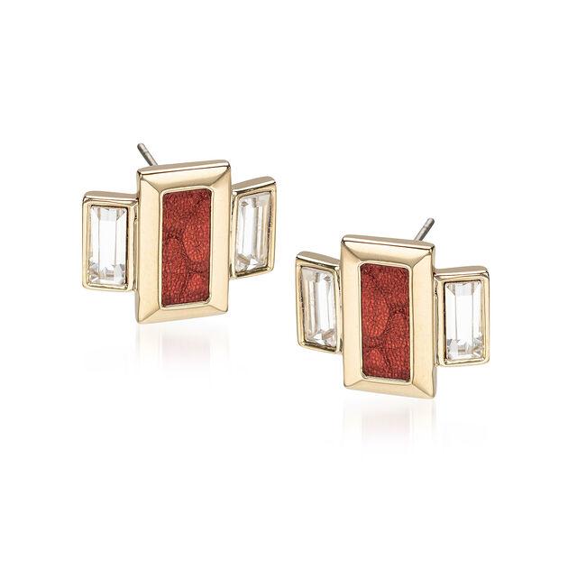 Emerald Cut Crystal Earrings Garnet Fairhaven, Garnet, hi-res