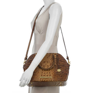 Hudson Satchel Toasted Almond Melbourne on figure for scale