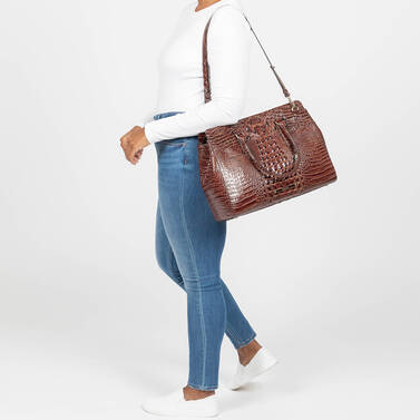 Finley Carryall Pecan Melbourne on figure for scale