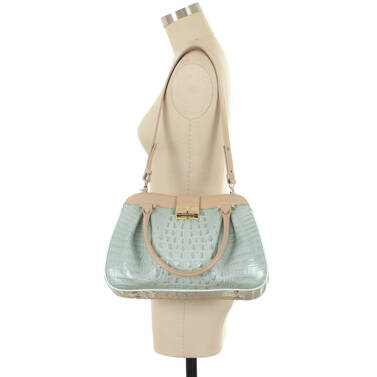 Laura Satchel Sea Glass Tri-Color on figure for scale