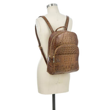 Dartmouth Backpack Toasted Almond Melbourne on figure for scale