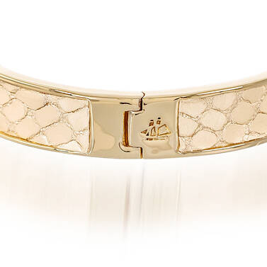 Heritage Leather Bangle Gold Fairhaven Side