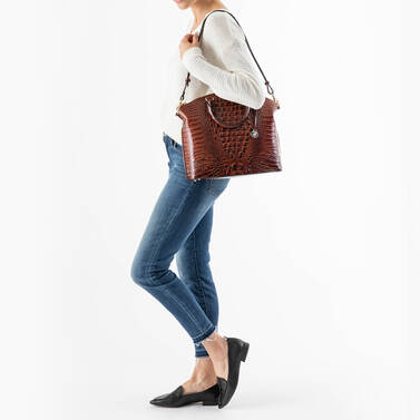 Large Duxbury Satchel Poppy Seed Melbourne on figure for scale