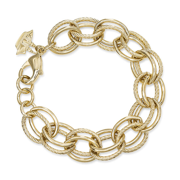 Double Cable Link Bracelet 18K Gold Plated Providence, 18K Gold Plated, hi-res
