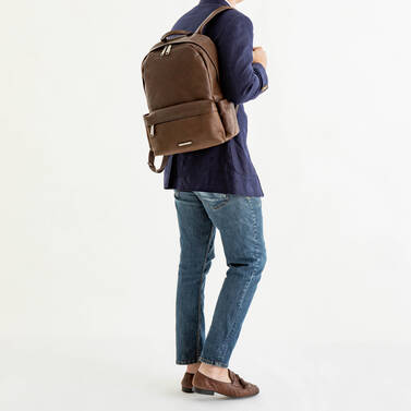 Marcus Backpack Cocoa Brown Vintage Melbourne On Mannequin