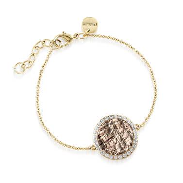Circle Crystal Link Bracelet Gold Fairhaven Front