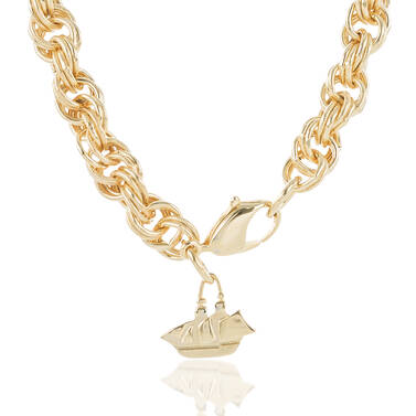 Textured/Smooth Station Necklace Light Gold Providence Side