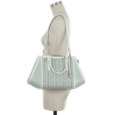 Arden Satchel Sea Glass Edgewater on figure for scale