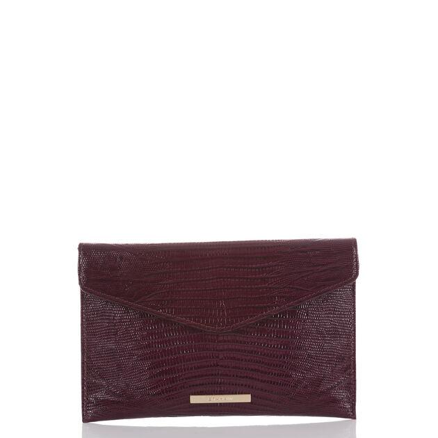 Envelope Clutch Plum Fashion Lizard, Plum, hi-res
