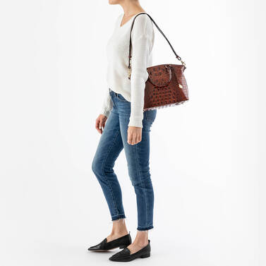 Duxbury Satchel Biscuit Melbourne on figure for scale