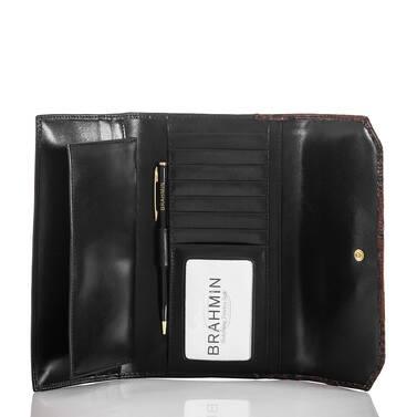 Soft Checkbook Wallet Black Tuscan Tri-Texture Interior
