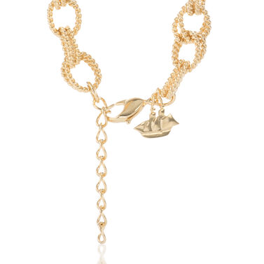 Double Bead Chain Necklace Light Gold Providence Front