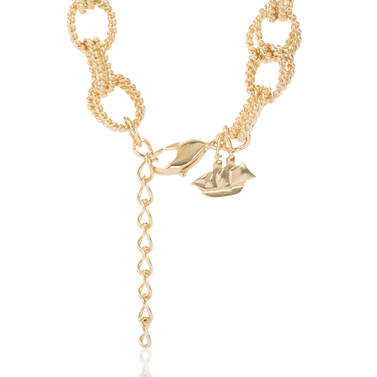Double Bead Chain Necklace Light Gold Providence Side
