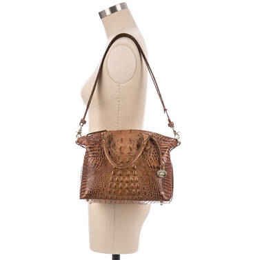 Duxbury Satchel Toasted Almond Melbourne on figure for scale