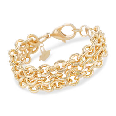 Smooth Twisted Layered Chain Bracelet Light Gold Providence Front