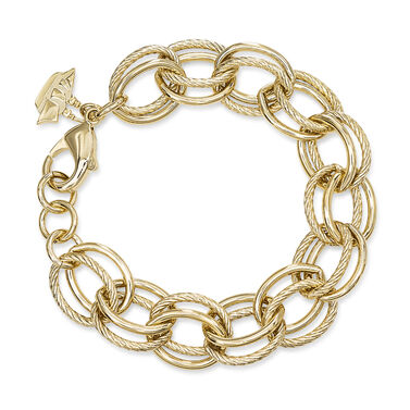 Double Cable Link Bracelet 18K Gold Plated Providence Front