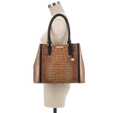 Joan Tote Toasted Almond Bengal on figure for scale