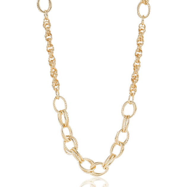 Textured/Smooth Station Necklace Light Gold Providence, Light Gold, hi-res