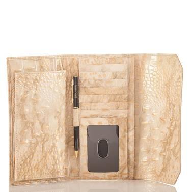 Soft Checkbook Wallet White Tortoise Coro Interior