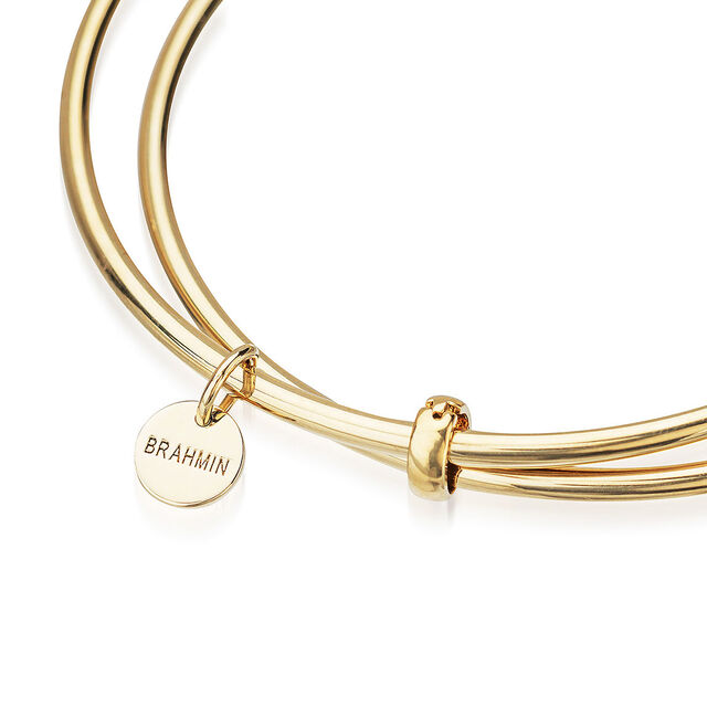 Double Crystal Charm Bangle Gold Fairhaven, Gold, hi-res