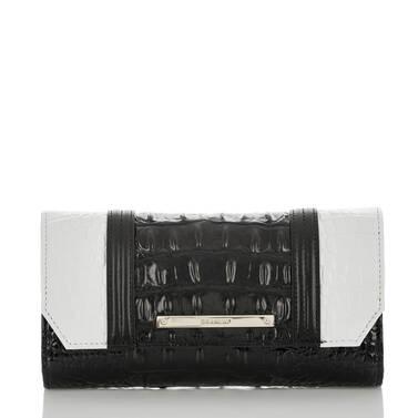 Soft Checkbook Wallet Black Crane Front