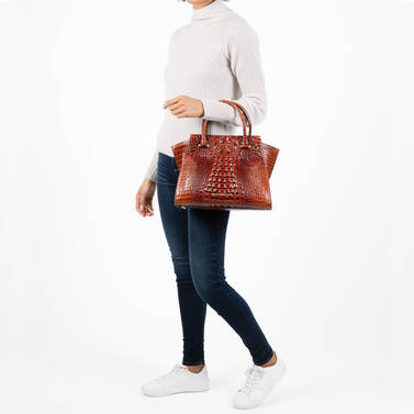 Priscilla Satchel Cognac Selva on figure for scale