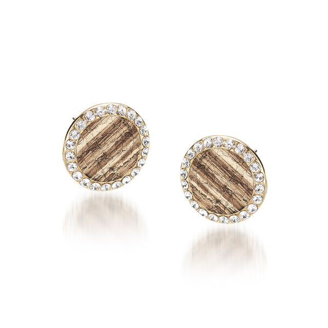 Round Crystal Earrings Gold Fairhaven, Gold, hi-res