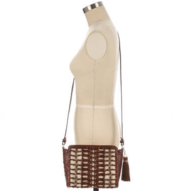 Carrie Crossbody Pecan Paseo on figure for scale