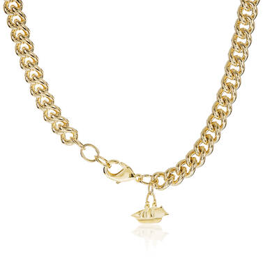 Classic Curb Necklace 18K Gold Plated Providence Side
