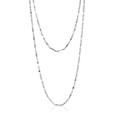 Endless Flat Bar Chain Rhodium Plated Providence Front