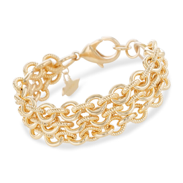 Smooth Twisted Layered Chain Bracelet Light Gold Providence, Light Gold, hi-res
