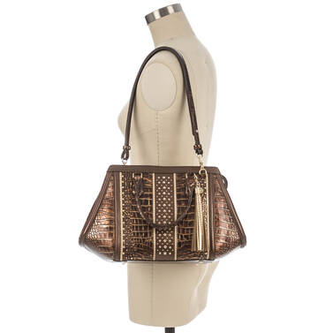 Arden Satchel Brown Milan On Mannequin