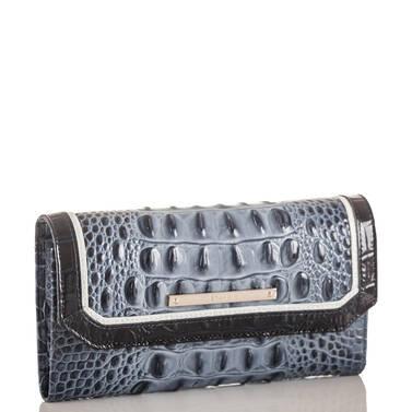 Soft Checkbook Wallet Denim Tri-Texture Side
