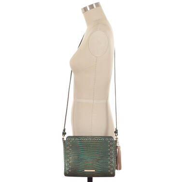 Carrie Crossbody Emerald Moa on figure for scale